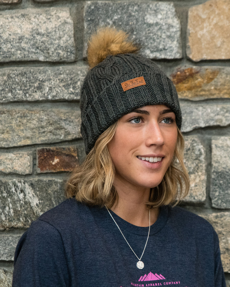 Women's Trapper Beanie - Charcoal