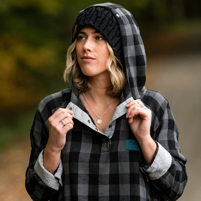 Women's Malo Pullover Hooded Snap Flannel - Gray