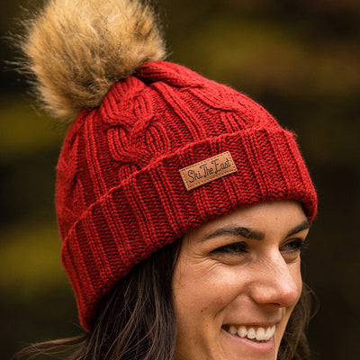 Women's Trapper Pom Beanie - Brick