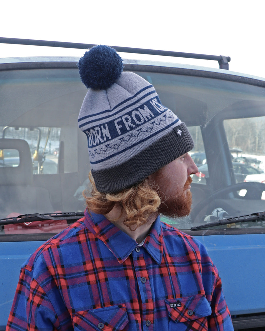 Born From Ice Pom Beanie - Gray