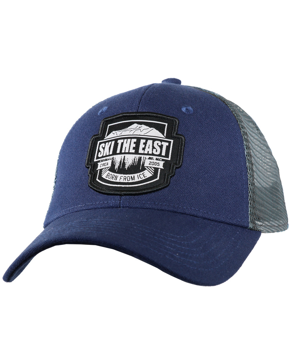 Born From Ice Canvas Trucker Hat - Navy - Ski The East b338690be2cc