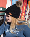 Women's Trapper Pom Beanie - Black