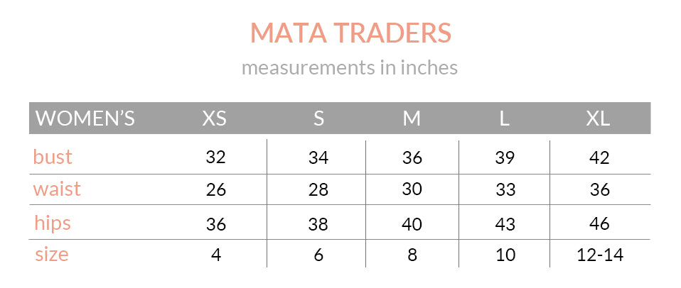 Mata Traders Size Guide