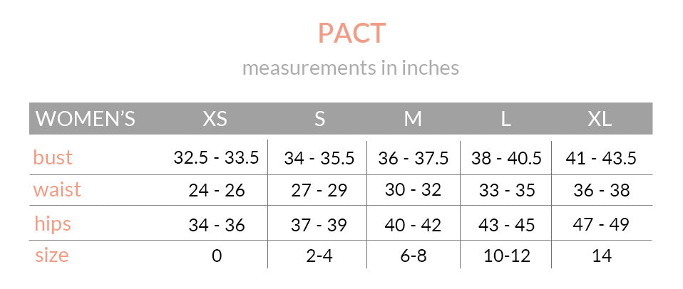 PACT Apparel Size Chart