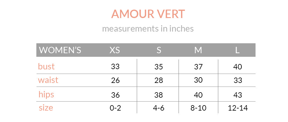 Amour Vert Size Chart
