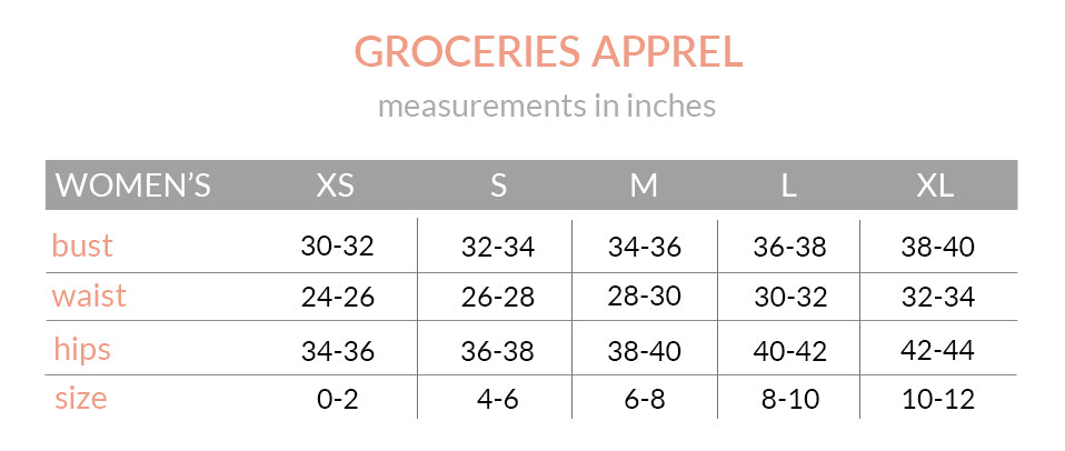 Groceries Apparel Size Chart