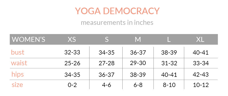 Yoga Democracy Size Chart