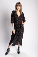 Symbology Poppy Flower Kimono Maxi Wrap in Black and Copper Bead & Reel