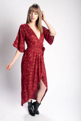 Symbology Poppy Flower Kimono Maxi Wrap in Berry & Copper Bead & Reel