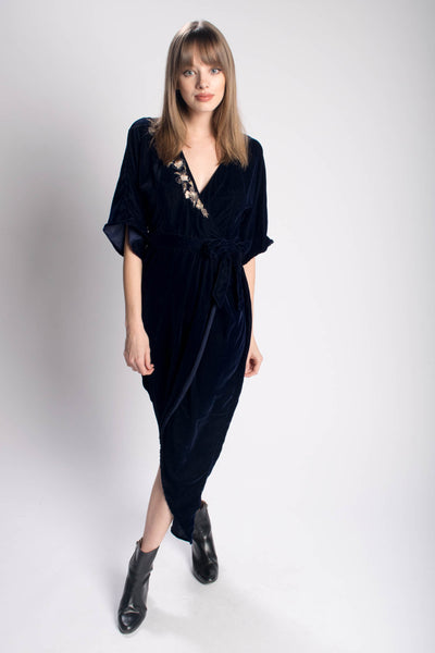 Velvet Embroidered Kimono Wrap Dress