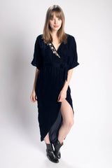 Symbology Velvet Embroidered Kimono Wrap Dress Bead & Reel