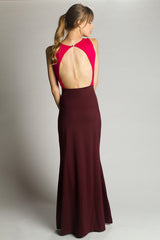 Merlot Persephone Color Blocked Dress - La Fille Colette