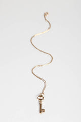 Gold Vermeil Key Charm Necklace - Rachael Ryen Jewelry