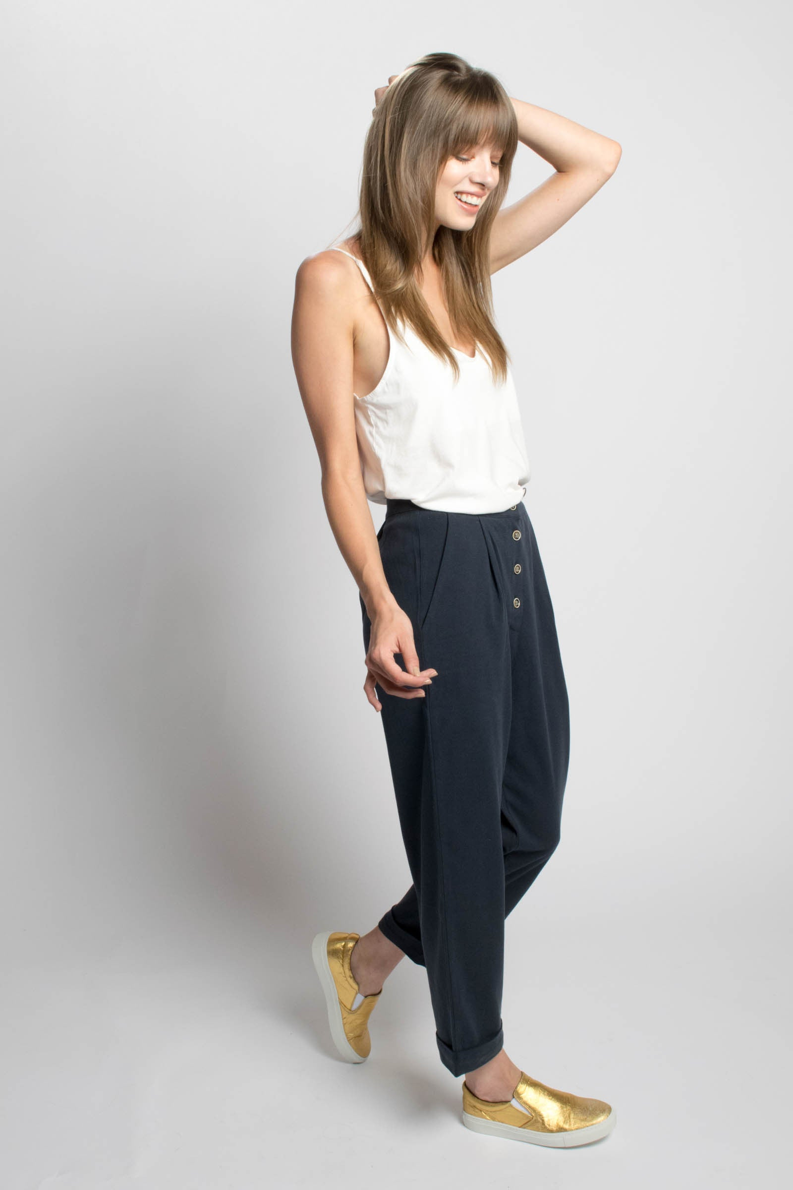 Navy Boyfriend Pants