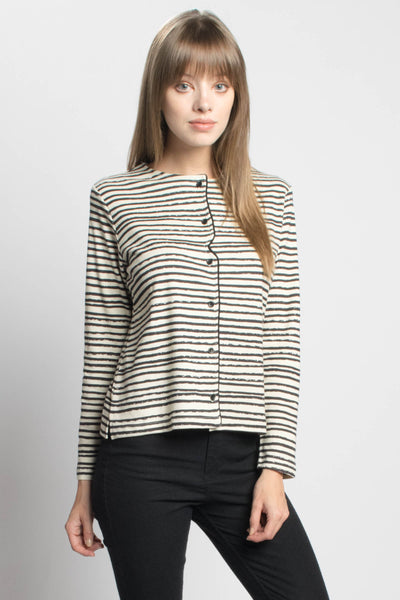 Distorted Striped Cardigan