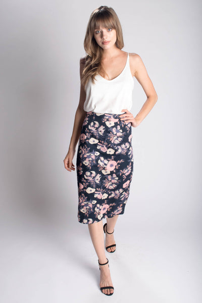 Watercolor Midi Pencil Skirt