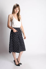 Passion Lilie Dark Blue Midi Skirt - Bead & Reel