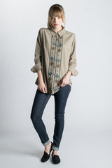 Fair Trade Asma Button Down Boyfriend Shirt - Purple Impression