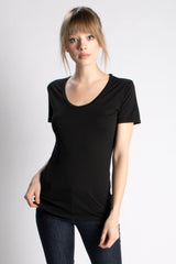 Black Swoop Neck Tee - Groceries Apparel