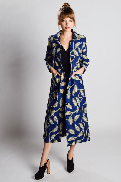 Blue Digital Trench Coat