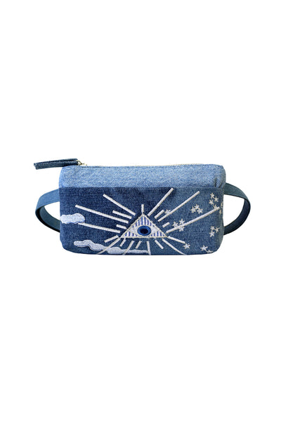 Mind's Eye Pocket Bum Bag in Upcycled Denim