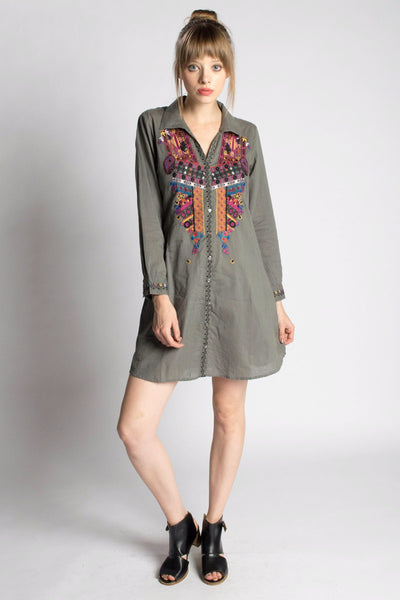 Isha Embroidered Shirtdress