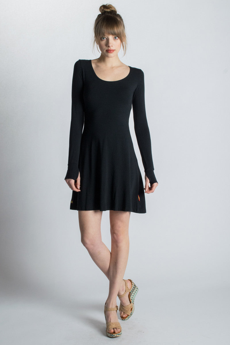 Black Strength Long Sleeve Bamboo Dress - Beckons