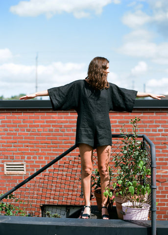 shorts jumper, black linen