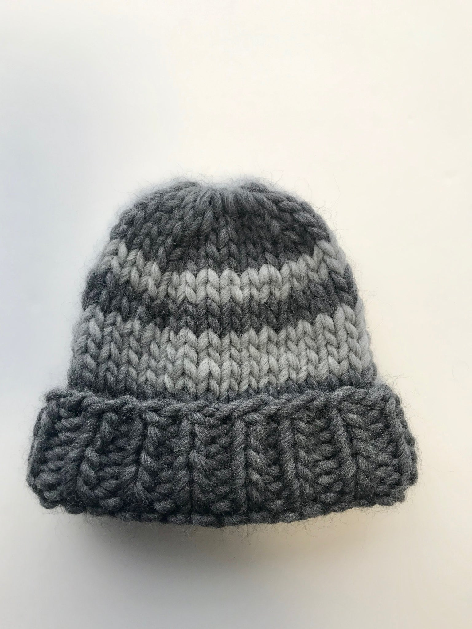 Big wool hat - grey/ light grey stripe