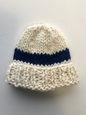 Big wool hat- White/ navy stripe