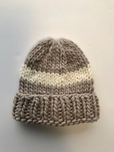 Big wool hat- Taupe/cream stripe