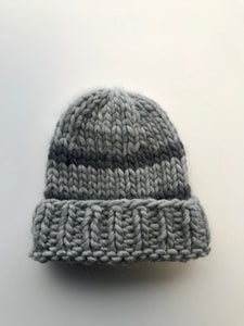 Big wool hat- light grey/dark grey stripes