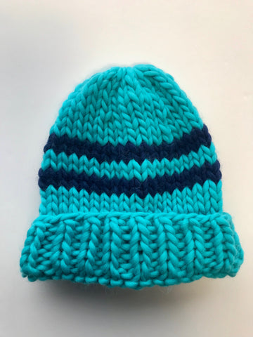 Big wool hat- teal/navy stripes
