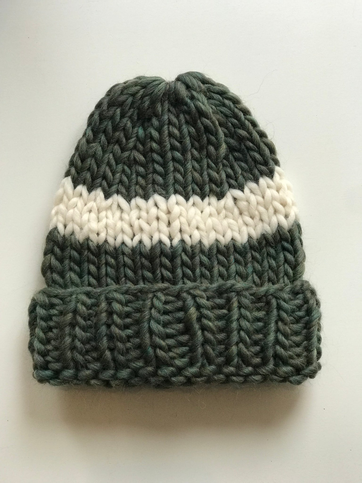 Big Wool Hat - Forest Green cream stripe – Nahanni Arntzen d5e7bd4324f