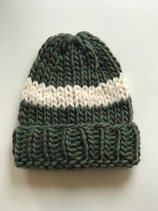 Big Wool Hat - Forest Green/cream stripe