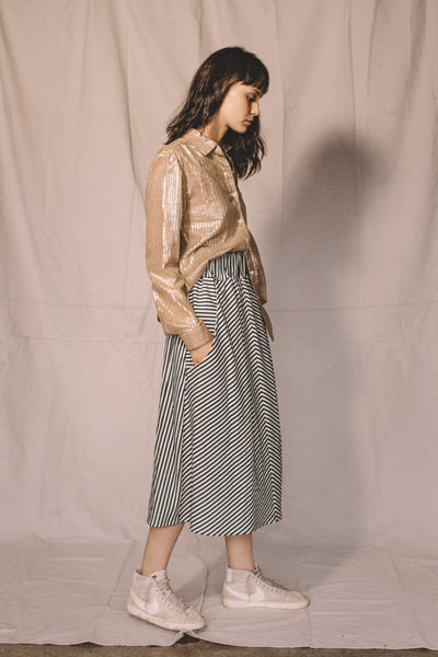 Long skirt - striped denim