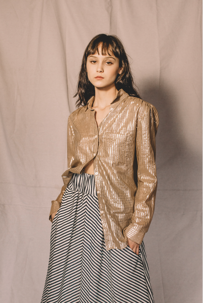 Birch blouse- silver stripe