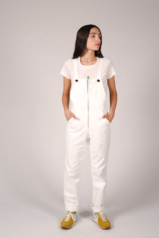 Valerie white denim overalls