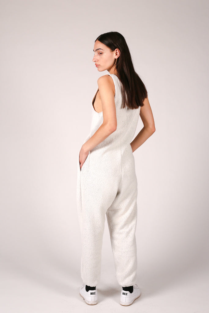 Fleece knit v-neck jumpsuit