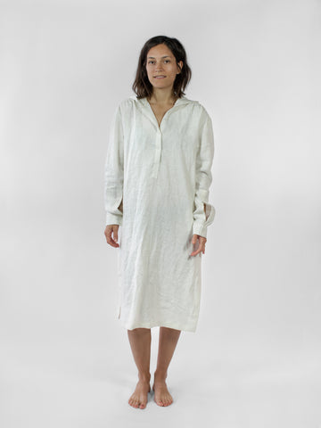 Hooded tunic, ivory linen