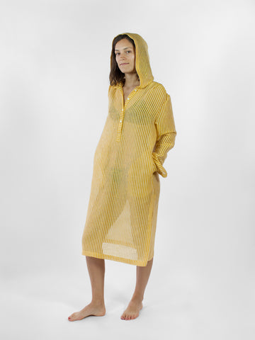Hooded Tunic in yellow stripe linen