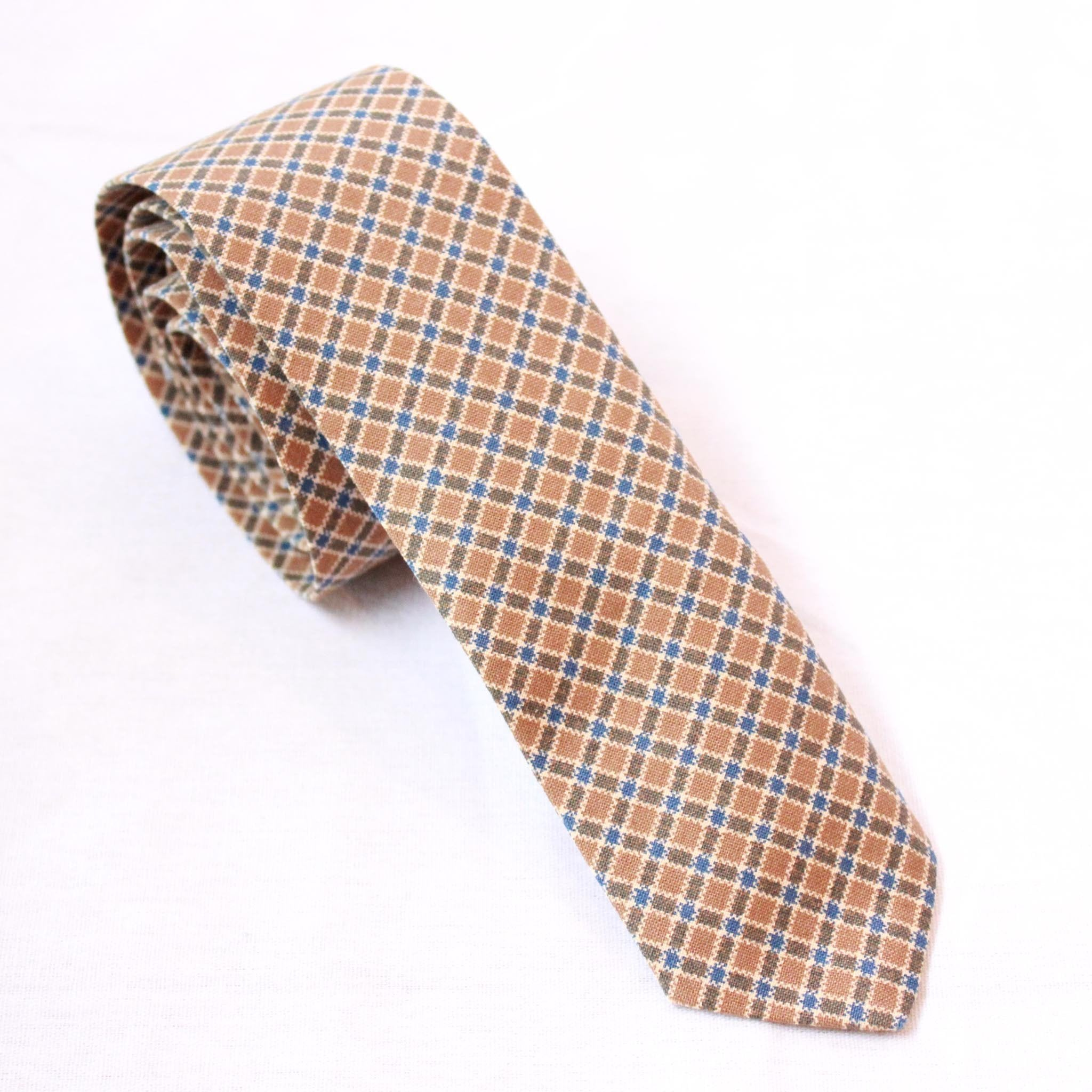 Mill City Fineries Old Gold and Blue Plaid Necktie