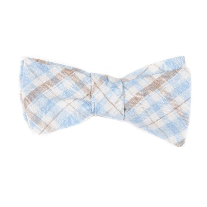 Mill City Fineries Light Blue and Brown Plaid Bow Tie