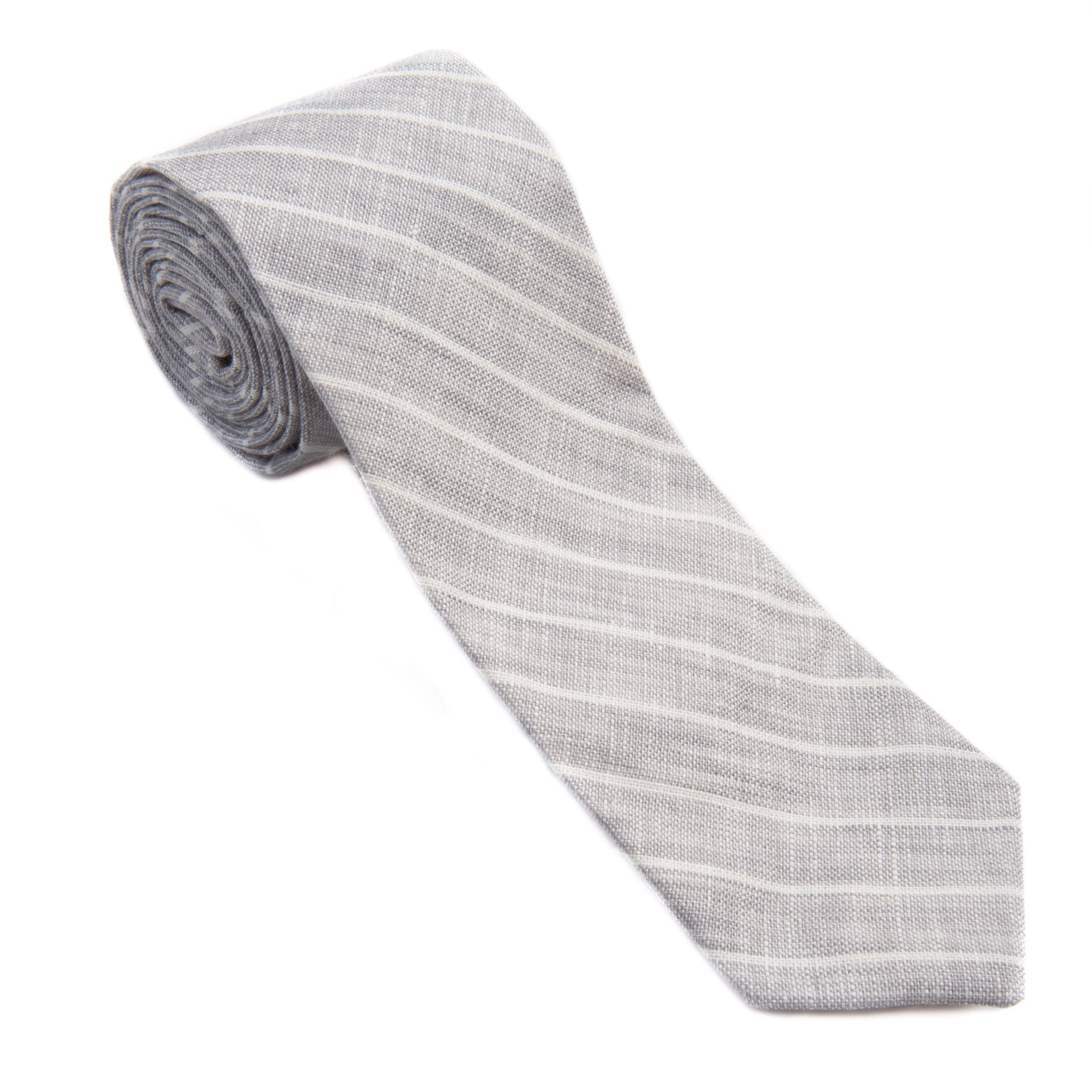 Mill City Fineries Light Gray Stripe Linen Necktie