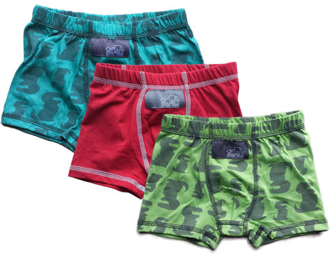 Boys Boxer Briefs - 3 Pack (Green Dinos, Red & Teal Dinos)