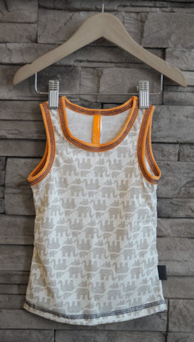 Boys Tank/Undershirt (Elephants-Orange Trim)