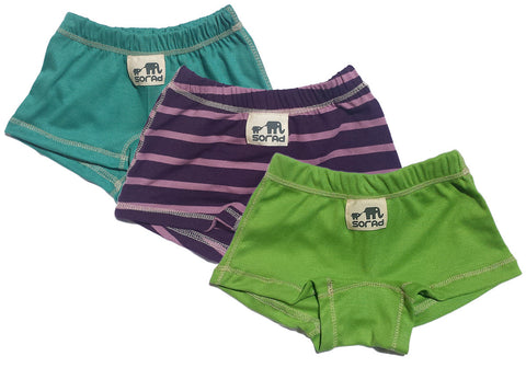 Girls Boy Shorts - 3 Pack (Avocado, Ginger Stripes & Teal)