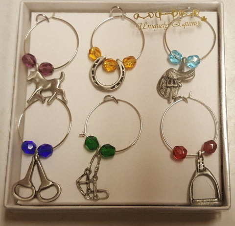 Wine Charms - Equestrian (Cut Glass)