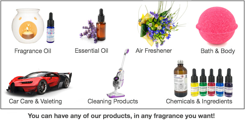 We specialise in fragrance oil, air freshener, car valeting, bath and body, chemicals and ingredients