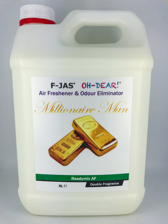 Air Freshener & Odour Eliminator (5L Readymix, Double Strength, Millionaire Man)